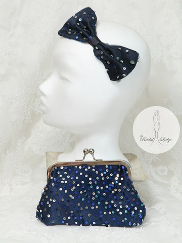 Navy and silver  Sequin T.B.L Bow  Fascinator  And Matching Bag