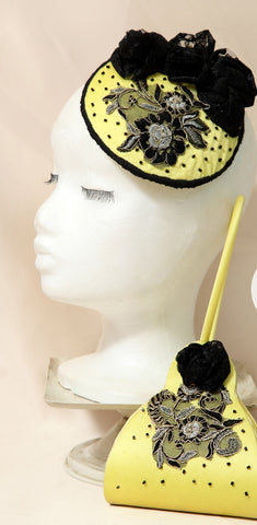 Black And Yellow T.B.L Fascinator  And Matching Bag