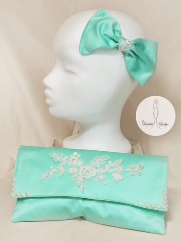 Mint Green T.B.L Bow  Fascinator  And Matching Bag