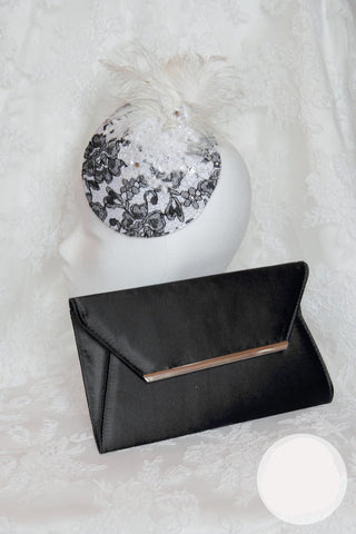 Black And White T.B.L Fascinator  And Matching Bag Set