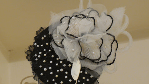Black  And White  Fascinator By T.B.L