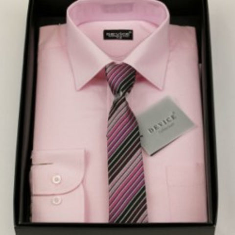 Pink Shirt And Tie Set