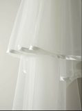 Single tier satin trimmed bridal veil by TBL