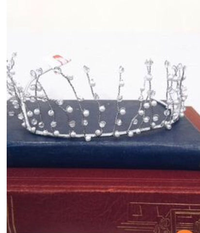 Silver Swarovski crystal and pearl tiara