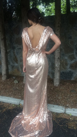 Amilia Rose Gold Cowl Back Dress