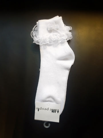 Lace trimmed & pearls/bow detailed  White socks (Sale)