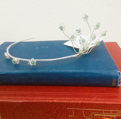 Silver and green Swarovski crystal Tiara