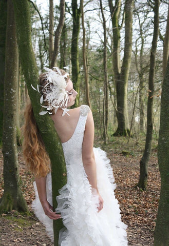 Bridal feathered and swarovski crystal hairpiece limited edition