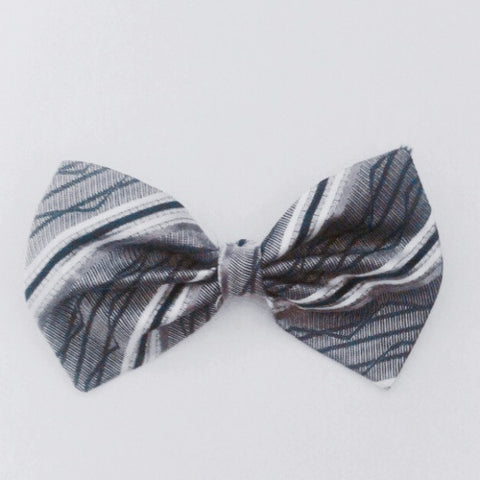 Grey and white striped bow tie (sale)