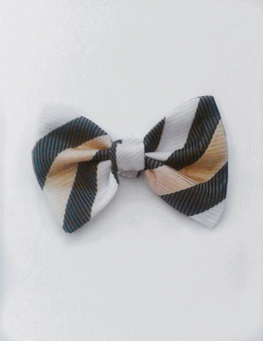 Black white and gold striped bow tie (sale)