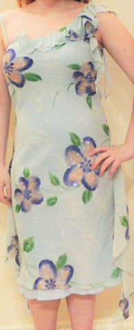 Sale Blue Floral Cocktail Gown