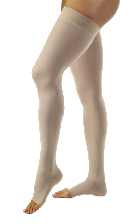 Jobst Opaque Thigh High Open Toe With Lace Silicone Band - Regular Length (Wide) - Class 2 (23-32mmHg)