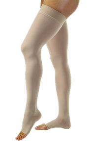 Jobst Opaque Thigh High Open Toe With Lace Silicone Band - Petite Length (Wide) - Class 1 (18-21mmHg)