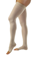 Jobst Opaque Thigh High Open Toe With Lace Silicone Band - Petite Length (Wide) - Class 2 (23-32mmHg)