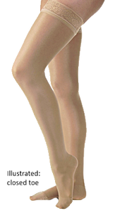 Jobst UltraSheer Thigh High Open Toe With Decorative Dotted Silicone Band - Petite Length (Standard) - Class 2 (23-32mmHg)