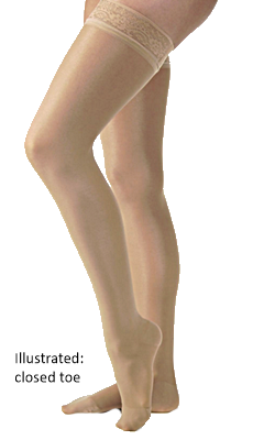 Jobst UltraSheer Thigh High Open Toe With Decorative Dotted Silicone Band - Petite Length (Wide) - Class 2 (23-32mmHg)