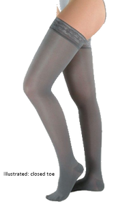 Juzo Attractive Thigh High Open Toe With Wide Silicone Border - Extra Short Length - Class 2 (23-32mmHg)