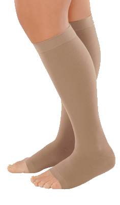Juzo Dynamic Cotton Below Knee Open Toe With Silicone Border - Extra Short Length - Class 1 (18-21mmHg)