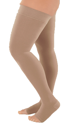 Juzo Dynamic Cotton Thigh High Open Toe With Silicone Border - Standard Length - Class 2 (23-32mmHg)