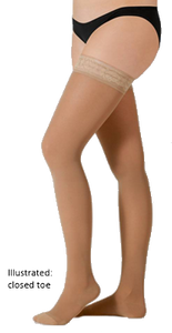 Juzo Hostess Thigh High Closed Toe With Silicone Border - Extra Short Length - Class 1 (18-21mmHg)