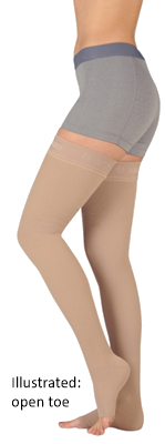 Juzo Soft Thigh High Open Toe With Wide Silicone Border - Standard Length - Class 1 (18-21mmHg)