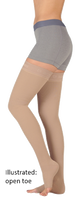 Juzo Soft Thigh High Open Toe With Wide Silicone Border - Short Length - Class 2 (23-32mmHg)