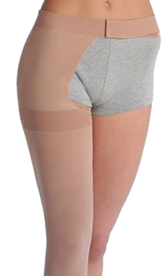Juzo Soft Thigh High Closed Toe With Waist Attachment (Right) - Extra Short Length - Class 2 (23-32mmHg)