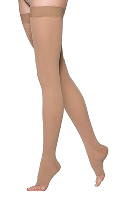 Sigvaris Comfort Thigh High Open Toe Without Grip Top - Short Length - Class 1 (18-21mmHg)