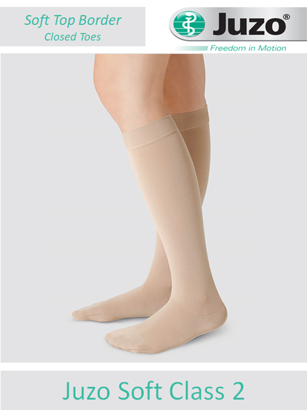 Juzo Soft socks come with a smooth, non-constricting knitted soft top border - like the usual top of a sock and finished with a CLOSED TOE design ideal for greater ventilation.