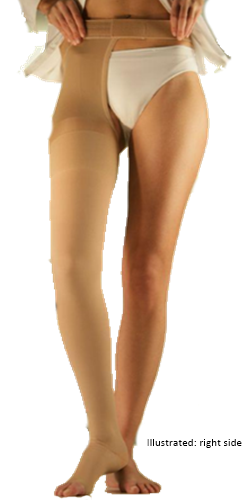Sigvaris Traditional 504 Thigh High With Waist Attachment on Left - Class 3 (34-46mmHg)