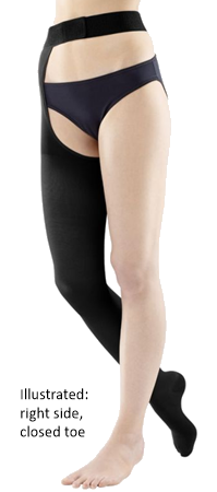Venotrain Soft Thigh High Plus With Waist Attachment Open Toe, Left Side - Class 2 (23-32mmHg)