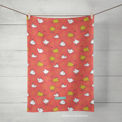 funky chickens coral tea towel by artist teresa magnuson, sunny & clear
