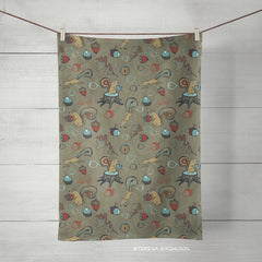 squirrels taupe brown tea towel by artist teresa magnuson