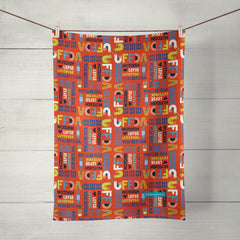 uffda red tea towel by artist teresa magnuson, sunny & clear
