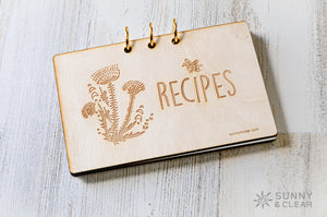 Thistles Recipe Card Binder, Wood Cover, 4x6, Includes Recipe Cards, 3 Ring Binder