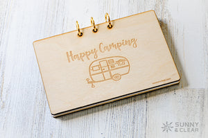 Happy Camping Recipe Card Binder, Wood Cover, 4x6, Includes Recipe Cards, 3 Ring Binder