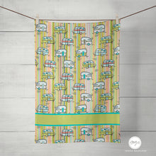 Load image into Gallery viewer, Vintage Camper Tea Towel, Summer Camping, Kitchen Towel, Linen Cotton 16x25in