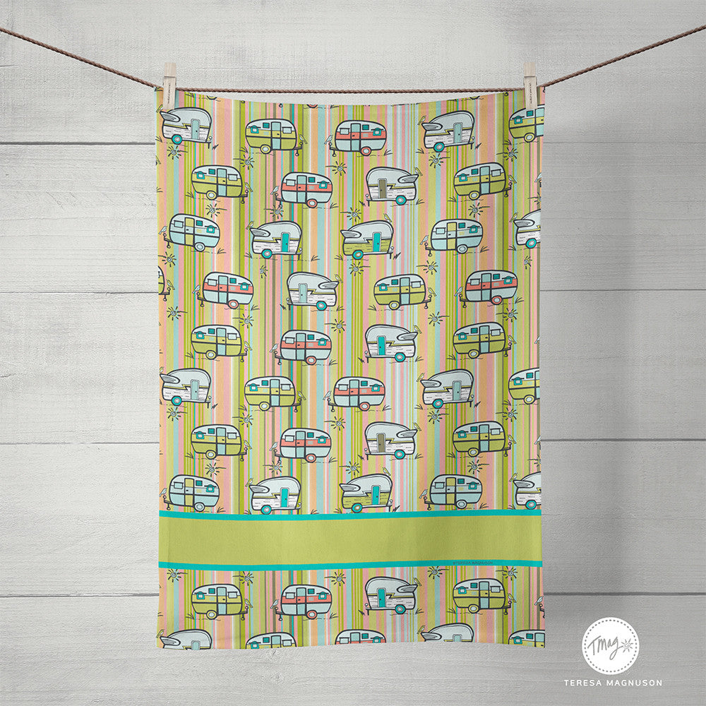 Vintage Camper Tea Towel, Summer Camping, Kitchen Towel, Linen Cotton 16x25in