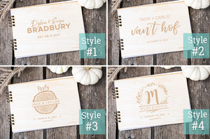rustic wedding guest book designs, custom, personalized by sunny and clear