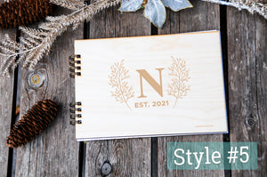 wedding guest book rustic in custom personalized modern designs