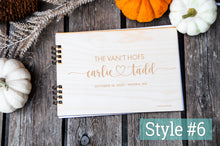 Load image into Gallery viewer, wedding guest book rustic in modern designs, custom, personalized, cute heart font