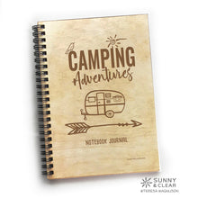 Load image into Gallery viewer, Camper, Camping Adventures, RV Vacation Travel Journal,  Wood Notebook, Camper, Lake, Personalized 5.5x7.875