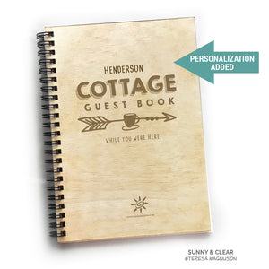 Vacation Guest Book Journal, Cottage, Wood Rustic, Lake, 5.5x7.875