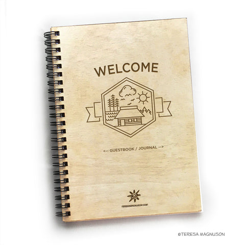 Wood Guest Book Journal, Cottage Welcome, Rustic, Cabin, Lake, 5.5x7.875