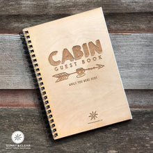 Load image into Gallery viewer, Wood Guest Book Journal, Coffee Cup, Rustic, Cabin, Lake, 5.5x7.875