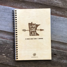 Load image into Gallery viewer, MN Live Love Lake, Vacation Guest Book Journal, Wood Notebook, VRBO, Cabin, Lake, Personalized 5.5x7.875