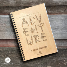 Load image into Gallery viewer, Adventure Geometric Letters, Vacation Guest Book Journal, , Boho,Mystical, Wood Notebook, VRBO, Cabin, Lake, Personalized 5.5x7.875