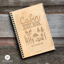 Load image into Gallery viewer, Woodsy Fox, Vacation Guest Book Journal, Wood Notebook, VRBO, Cabin, Lake, Personalized 5.5x7.875
