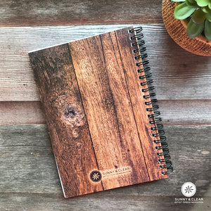 Wood Guest Book Journal, Cottage Welcome Up North, Rustic, Cabin, Lake, 5.5x7.875