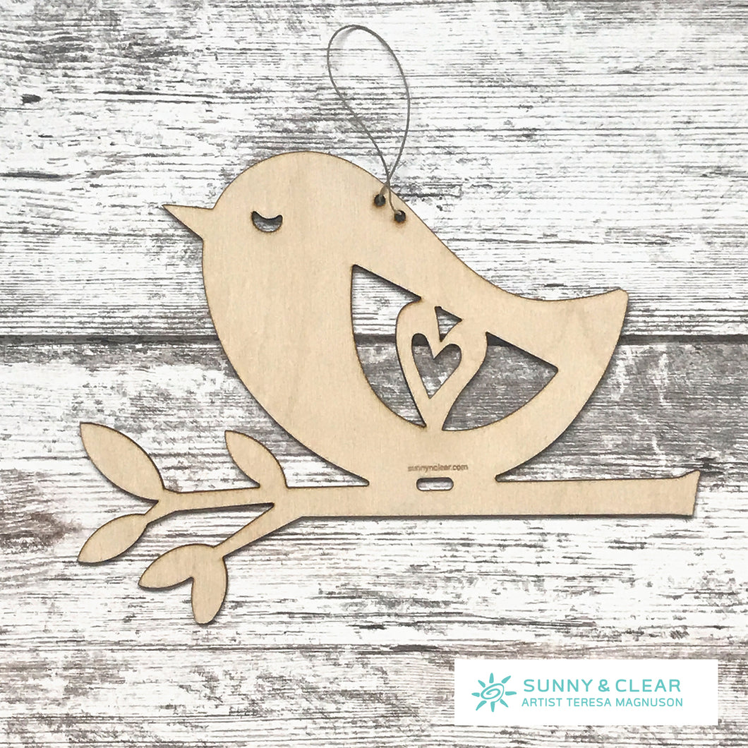 Bird Wall Hanger, Wood Cut-out, DIY Nursery Decor, Macrame Hanger 10.5